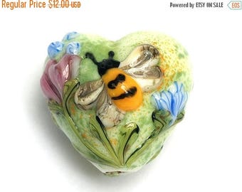 ON SALE 35% OFF 11830105 - Bumble Bee Garden Heart Focal - Handmade Glass Lampwork Bead