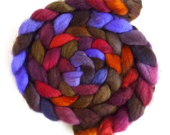 Superwash BFL Wool Roving - Hand Painted Spinning or Felting Fiber, Vibrant Quiet