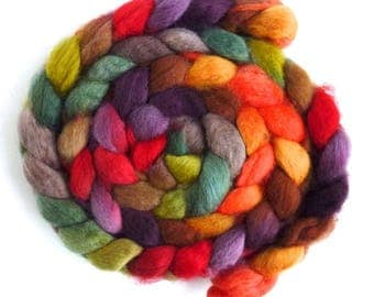 BFL Wool Roving - Hand Painted Spinning or Felting Fiber, Fall Folderol
