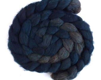 Night Blues, Fawn Shetland Roving - Handpainted Spinning or Felting Fiber