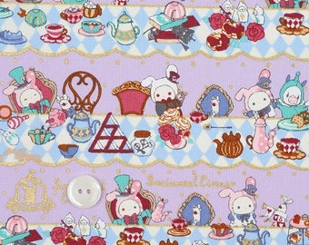 Super Special half price-Half yard (1/2yd) San-X  Kawaii Sentimental Circus  Fabric-Cotton Fabric-pale purple