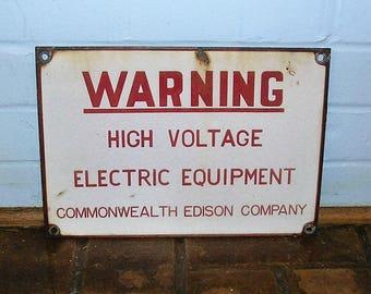 Vintage Porcelain Sign Vintage Commonwealth Edison Company Sign High Voltage Sign Vintage Power Company Sign