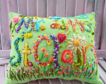 Wedding Gift LARGE Deluxe Bohemian Embroidered Name Pillow Made To Order Any Colors YelliKelli