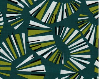 Sale! 1/2  yard Jane Dixon Poppy Modern Andover Fabrics Green Line Swirls
