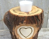 9th Anniversary Candle of Willow Wood Personalized with Wood Burned Names in a Heart OOAK