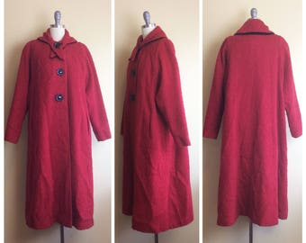 1940s Betty Jean Red Wool Swing Coat / 40s / Vintage / Forties Curly Velvet Trimmed Volup Jacket / Large