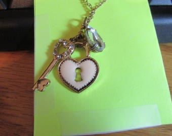 heart lock charm necklace