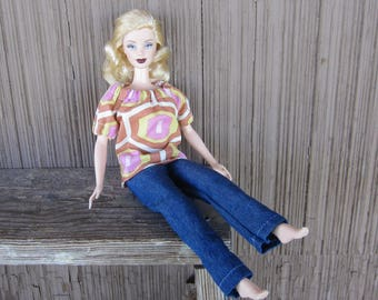 Handmade Barbie Doll Clothes, Jeans and a Peasant Style Blouse of Geometric Shapes for the Basic Size Doll