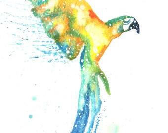Macaw ORIGINAL Watercolor 9X12, Galaxy Spirit Animal