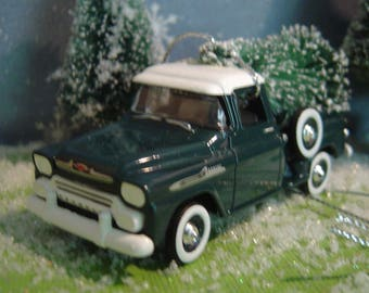1958 Chevy Apache Step Side PickUp Truck with Christmas tree ornament