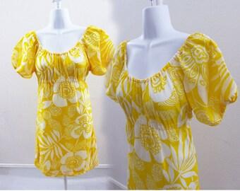 Vintage 60s Dress Size S M Yellow Mod Cotton Psychedelic Floral Hippie Gogo 70s