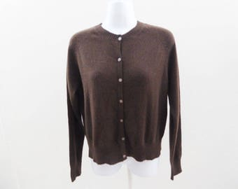 100% Cashmere Sweater Size S Brown Cardigan Womens Apostrophe 38 Chest Jumper