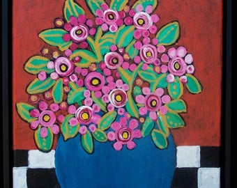 """Original folk flower bouquet with checkered table cloth Painting, 12""""x12"""" framed ,in blue vase,pinks,"""