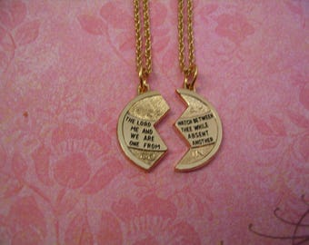 Two Mizpah Christian Necklaces for Mother Daughter Sisters or Friends