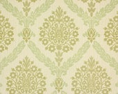 1970s Retro Vintage Wallpaper Green Flocked Damask by the Yard
