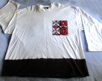 Boutique top white cotton long sleeve with black panel tee shirt  size 3X OOAK