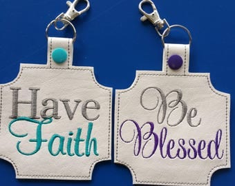 Have Faith ITH Bag Tag 5 x 7 Hoop embroidery design ** Not Physical Item** Must have embroidery machine**