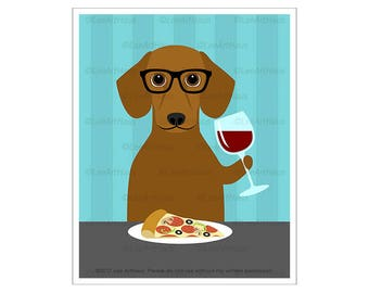 321D Dog Art Prints - Short Hair Dachshund Drinking Wine and Eating Pizza Wall Art - Wine Home Decor - Funny Animal Prints - Pizza Decor