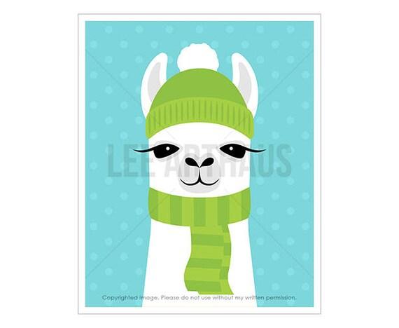 24J Llama Print - Llama Wearing Green Hat and Scarf Wall Art - Girl Nursery Wall Art - Funny Animal Prints - Cute Zoo Animal Drawing
