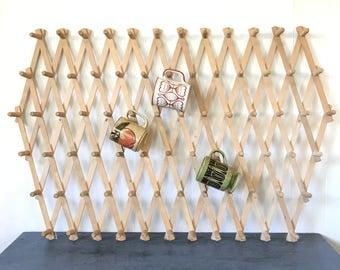 wooden peg rack - extra large accordion mug storage - wall organizer