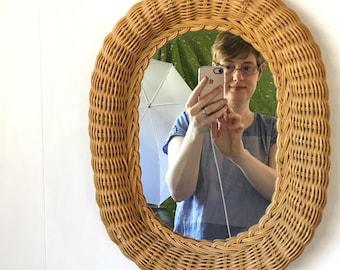 vintage wicker wall mirror - woven rattan oval frame - boho cottage beach house