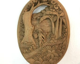 carved wooden plaque - oval wall sculpture - Paele Laguna Philippines - Asian chinoiserie