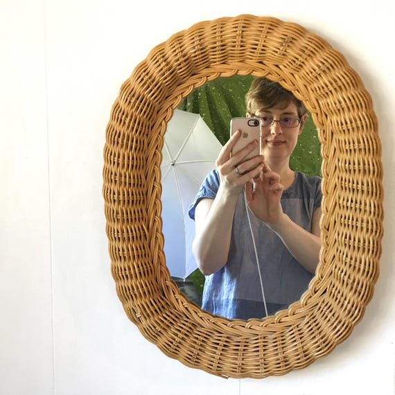 vintage wicker wall mirror - woven rattan oval frame - boho cottage beach house
