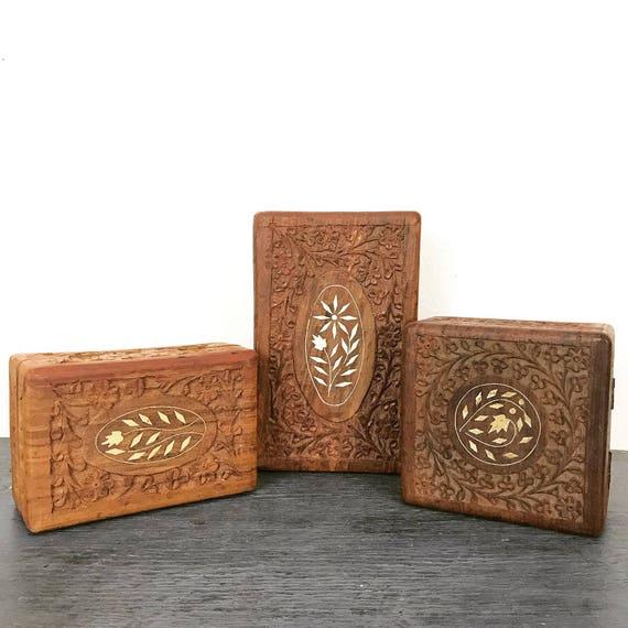 vintage carved teakwood box - wood jewelry trinket keepsake box - boho storage decor