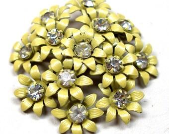 60s Rhinestone brooch, Yellow flowers.