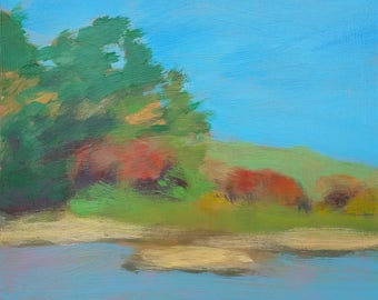original fine art, wall decor, landscape study, acrylic painting on panel - Autumn by the Water - Irene Stapleford - wantknot shop