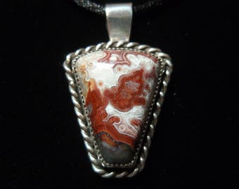 Mustang Pony - Crazy Lace Agate Gemstone Western Sterling Silver Necklace Pendant