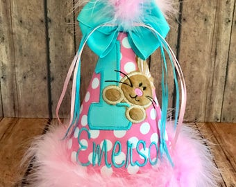 Bunny Birthday Hat, Easter Bunny Hat, Bunny 1st Birthday Hat, Easter Bunny 2nd Birthday Hat,   You Choose Colors,  by GINGHAM BUNNY