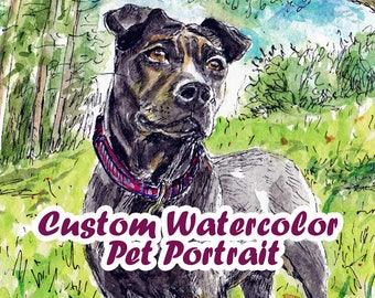 Custom Pet Watercolor Painting, Pet Portrait, Cat Painting, Watercolor Dog, Original Watercolor, Dog Portrait, Cat Art, Pet Lover Gifts