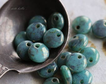 BRONZE TURQUOISE DOTS .. 20 Picasso Czech Glass Lentil Beads 6mm (5832-20)