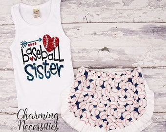 SALE NEW Baseball Sister Tank Top and Ruffle Shorts Set, Fan, Personalized, Summer Clothes, Baby Girl Outfits, by Charming Necessities Navy