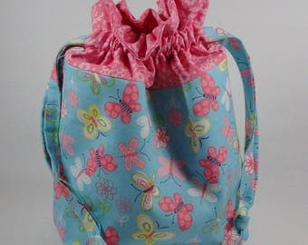 Butterflies Knitting Project Bag, Pink and Blue Drawstring Knitting Project Bag, Small Project Bag, Sock Knitting Project Bag