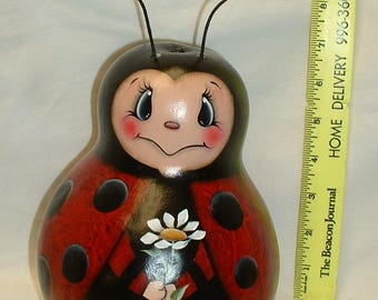 Ladybug Gourd - Hand Painted Gourd