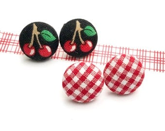 Fabric Button Earring, Cherry Print Earrings, Picnic, Post Jewelry, Stud Earrings, Mothers, Child Earrings, Plaid Earrings, Day Gift Set