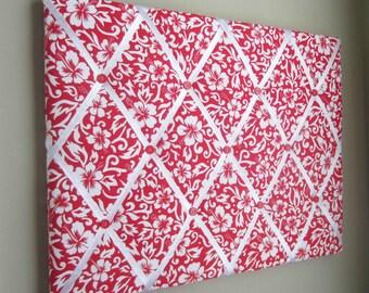 "16""x20"" Red & White Hibiscus Memory Board, French Memo Board, Fabric Memo Board, Vision Board, Dream Board, Ribbon Board, Bow Board"