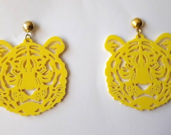 Earrings ♥ ♥ yellow Tigers big heads