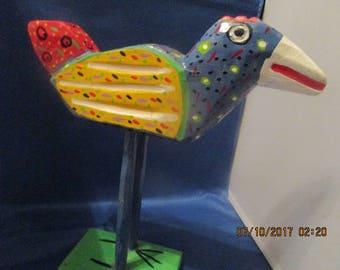 FOLK ART SCULPTURE Bird, Wacky Wood Bird, Outsider Art