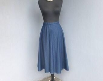 Vintage 1970s LANZ Originals, Denim Skirt, Country WesterStyle Denim Skirt, Jean Skirt, 27 inch waist