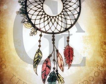 Dream Catcher Bundle 3 Designs Instant Download for Electronic Cutters Silhouette Cricut vinyl digital hippie boho Feather heat transfer