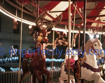 BRIGHT CAROUSEL photo magnets - merry-go-round color photo with Rudolph!- from film!