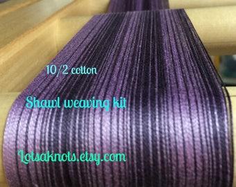 Weaving kit for Striped Purples Shawl-weaving-kit-loom-handwoven- purple stripes-weaving