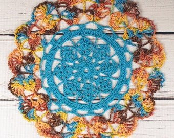 """Crocheted Southwestern Turquoise Brown Rust Orange Table Topper Doily - 10 1/2"""""""