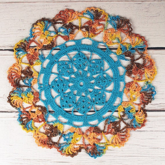 Crocheted Southwestern Turquoise Brown Rust Orange Table Topper Doily - 10 1/2""