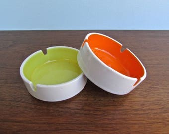 Duo of Vintage Orange and Yellow Porcelain Stackable Ashtrays, Modern Design Japan