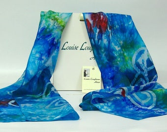 Hand Painted Silk Scarf Celtic Spiral Forrest