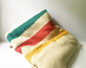 Wool Blanket Vintage Blanket camp blanket Mohawk Striped Hudson Bay style 1960s